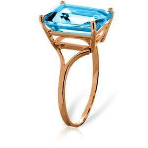 GOLD RING WITH NATURAL OCTAGON BLUE TOPAZ